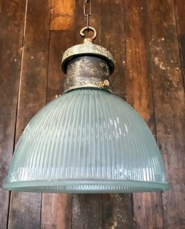 Blue Holophane Pendant Light
