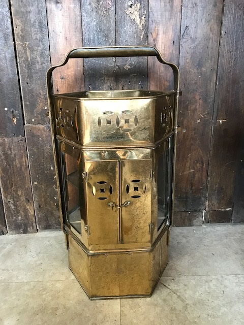 Vintage Asian Brass Street Vendor Noodle Cart With Warmer