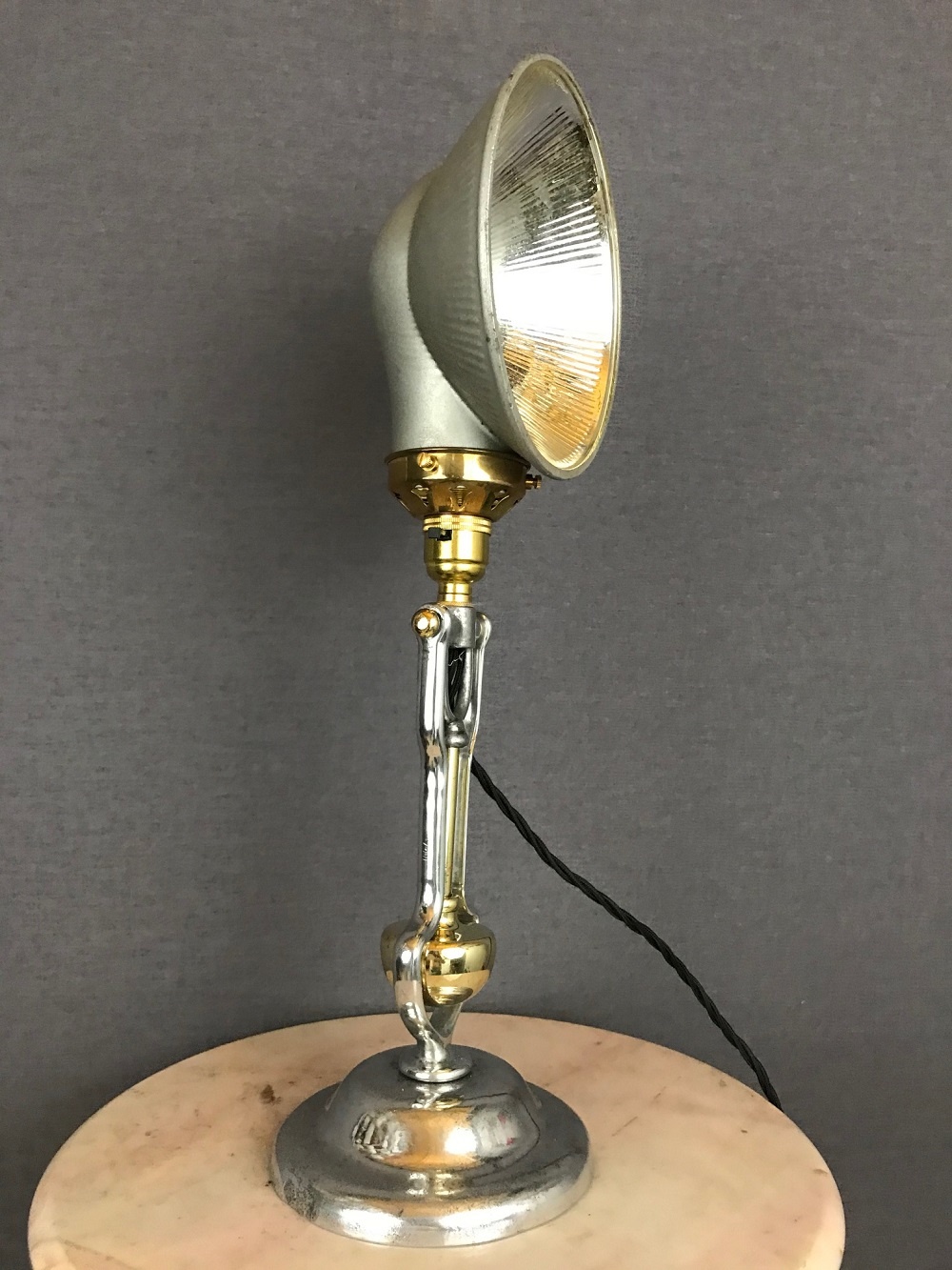 Antique Gimbal Nautical Table Lamp With Gecoray Shade 91006