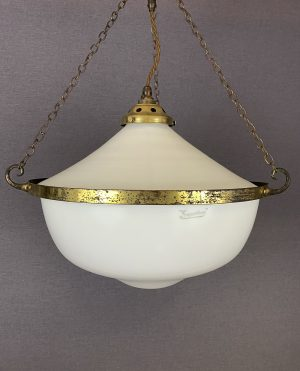 two part opaline pendant light