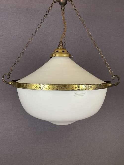 two part opaline pendant light