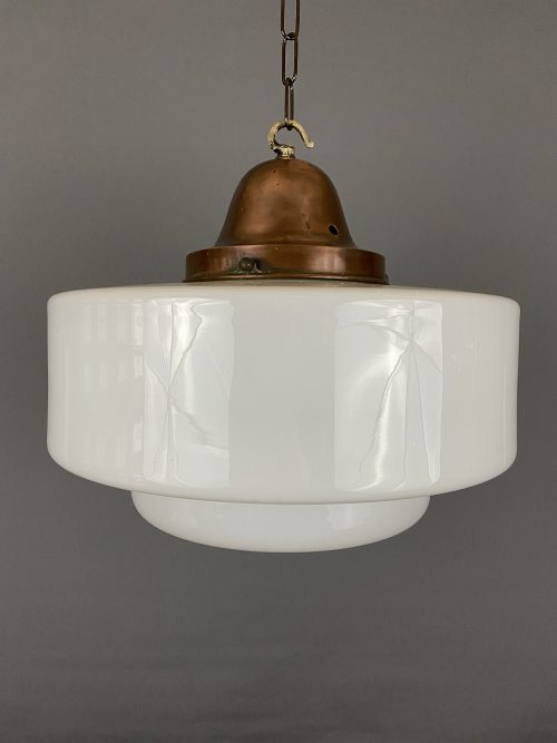 art deco white glass light