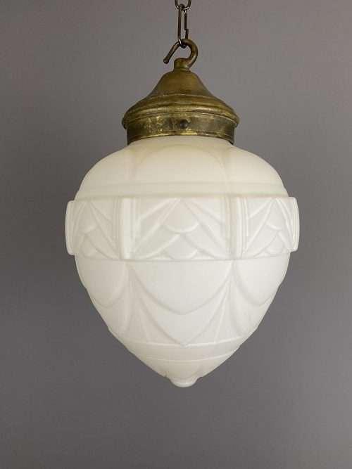 Acorn Shaped White Glass