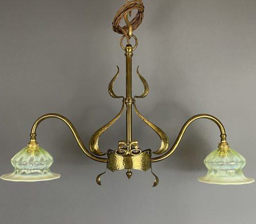 art nouveau twin arm chandelier