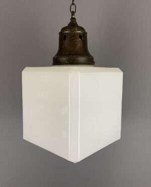 white glass cube light